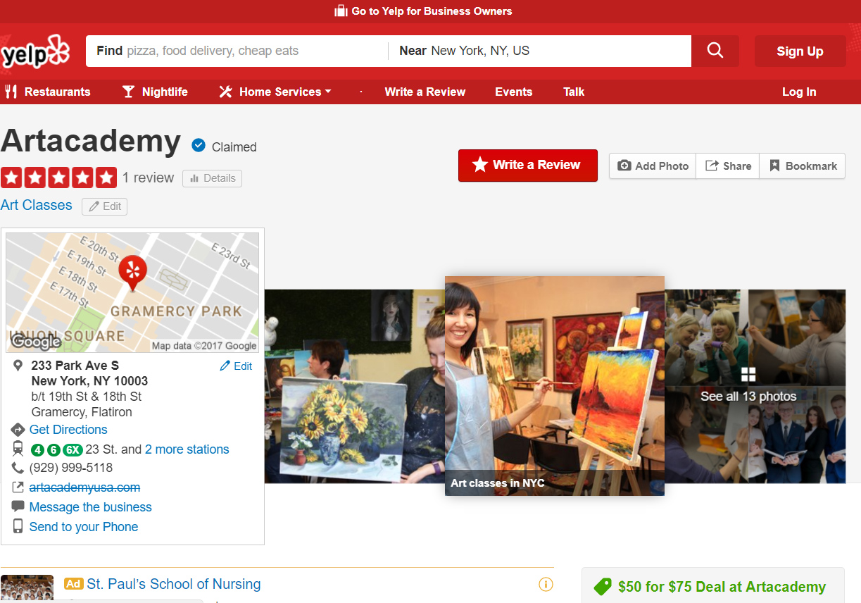 Yelp search results or art classes