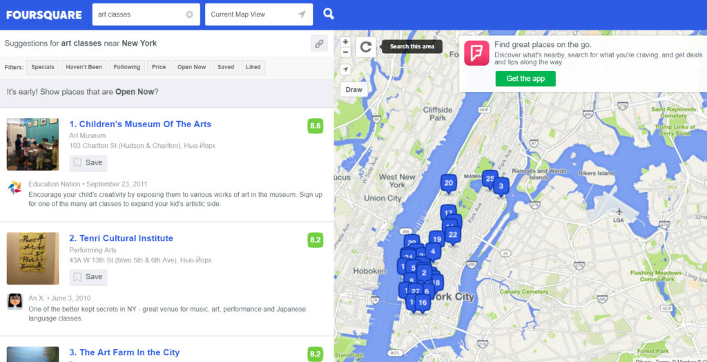 Foursquare search results for art classes near me