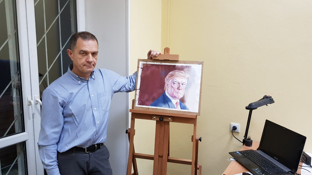 Trump portrait with the artist